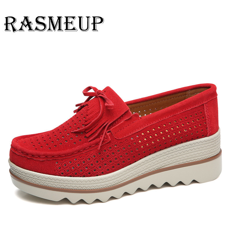 RASMEUP Genuine   Suede     Leather   Women's Platform Sneakers Summer Tassel Hollow Flat Women Shoes Casual Slip On Creepers Moccasins