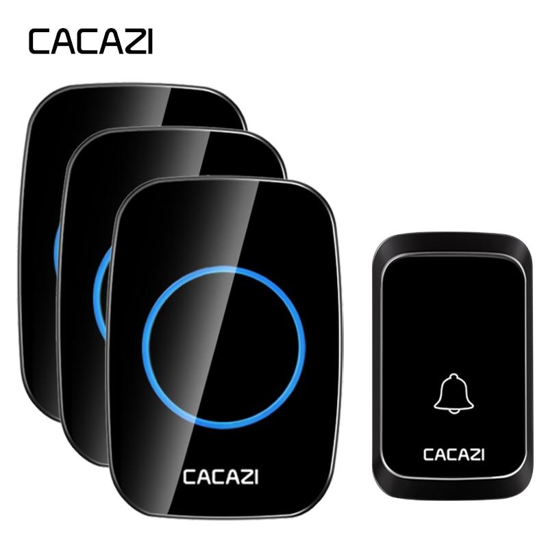 все цены на CACAZI Waterproof Wireless Doorbell LED Light Battery Button 300M Remote Home Cordless Calling Bell US EU Plug 58 Chime 4 Volume онлайн