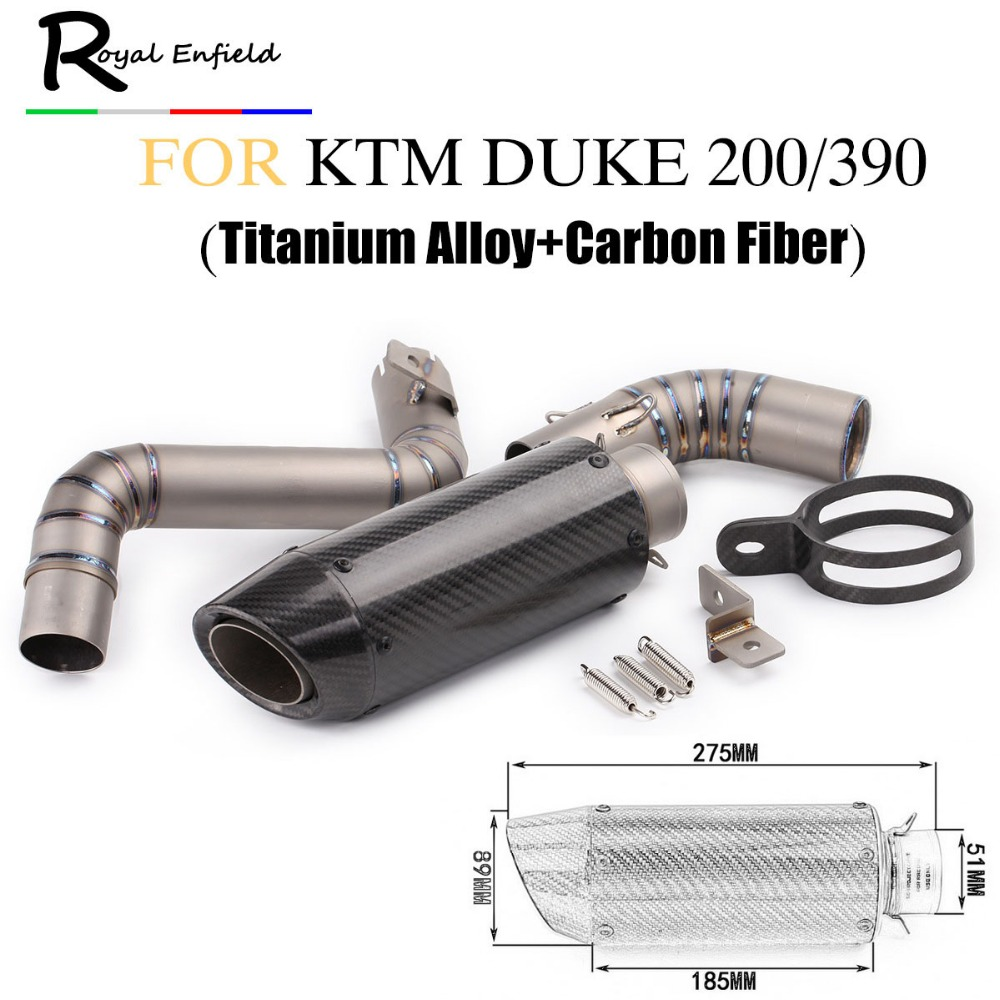 все цены на Full Set Motorcycle Exhaust Link Pipe for KTM Duke 125 Duke 200 Duke 390 Carbon Fiber Color Motorbike Exhaust Escape System онлайн