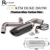 Full Set Motorcycle Exhaust Link Pipe For KTM Duke 125 Duke 200 Duke 390 Carbon Fiber