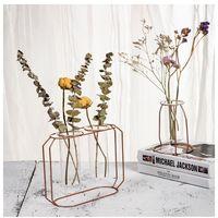 단철 유리 꽃병 홈 유리 꽃병 북유럽 스타일 철 금속 예술 꽃병 꽃 냄비 장식 액세서리
