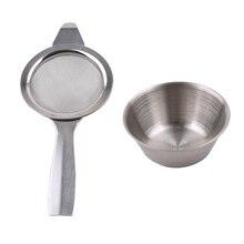 2 шт./компл. чай решений Инструменты ретро сито+ вкладыш капельного чаша нержавеющая сталь заварки приспособление для резки