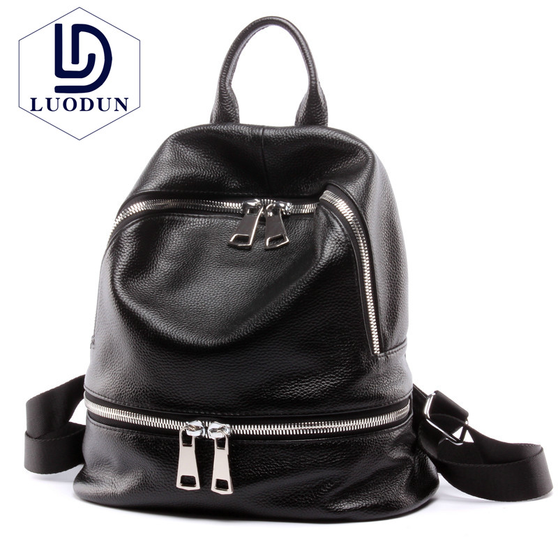 LUODUN Ms. bag 2018 new fashion retro student ladies backpack first layer of leather explosion models shoulder travel bag qiaobao 2018 new korean version of the first layer of women s leather packet messenger bag female shoulder diagonal cross bag