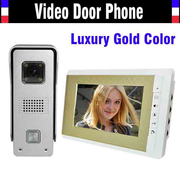 7 Inch Lcd Monitor Video Door Phone Doorbell Intercom System IR Night Vision Aluminium alloy Camera Video interphone kit