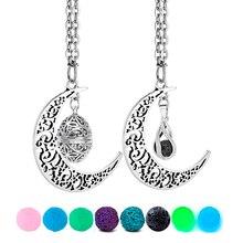 Лунное ожерелье, подвесное ожерелье из лавы и лавы, винтажное античное ароматическое эфирное масло