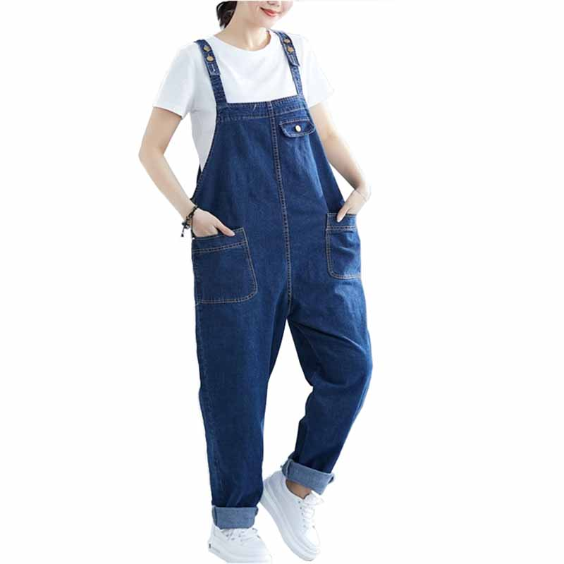 Fashion Plus size 5XL-8XL Denim Jumpsuits Overalls Women Adjustable Sling   Jeans   Female Loose Casual Harem Pants Rompers G185
