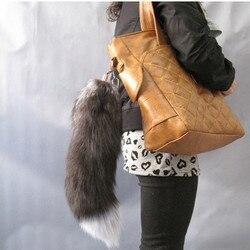 Real pele de prata raposa cauda pele acessórios da bagagem acessórios da bagagem acessórios de pele de raposa cauda chaveiro frete grátis