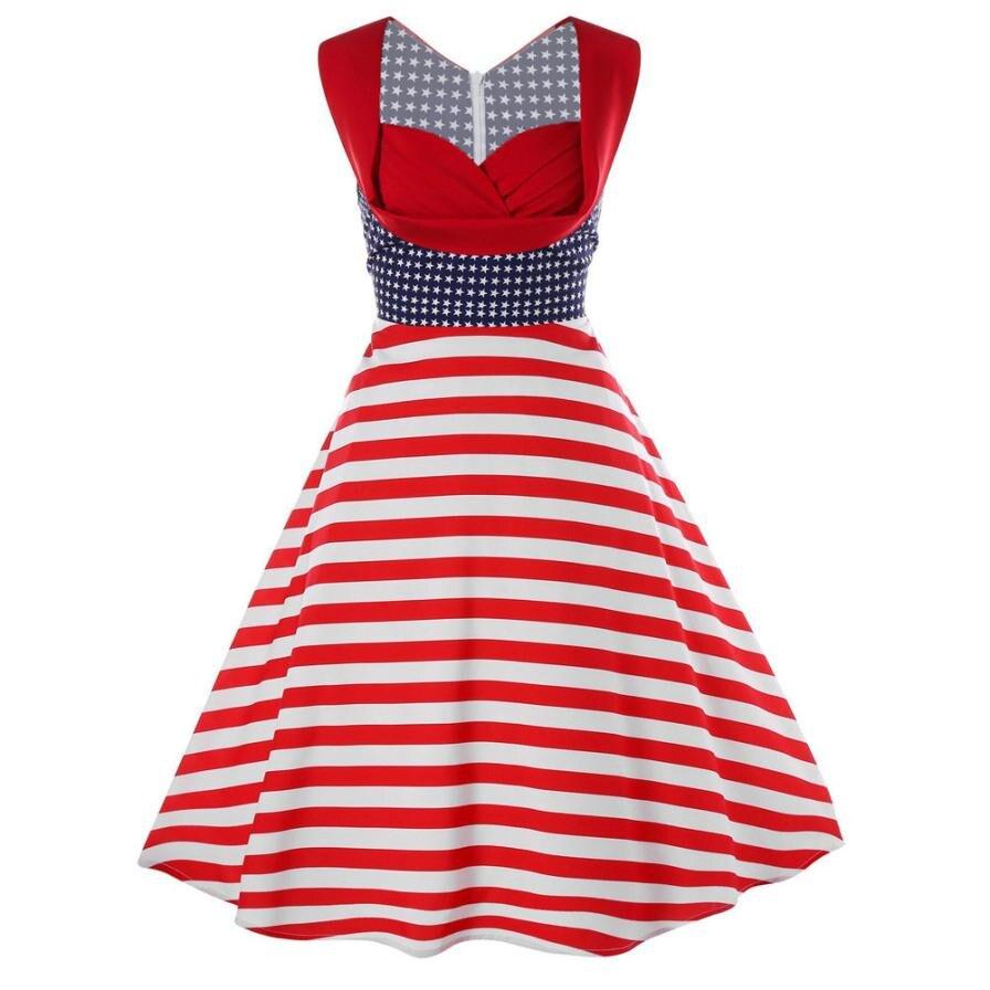 Women American Flag Elegant Dress Summmer Sleeveless Vintage Tea ...