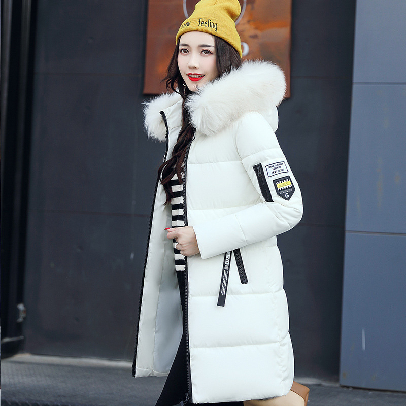 2017 new women parkas female fur collar coat in the long section of large size jacket warm winter coat 2017 winter new clothes to overcome the coat of women in the long reed rabbit hair fur fur coat fox raccoon fur collar