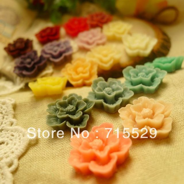 Free shipping 20mm Flat back Resin Flower Cabochon Jewelry Accessories/mobilephone decoration by 100PCS/LOT