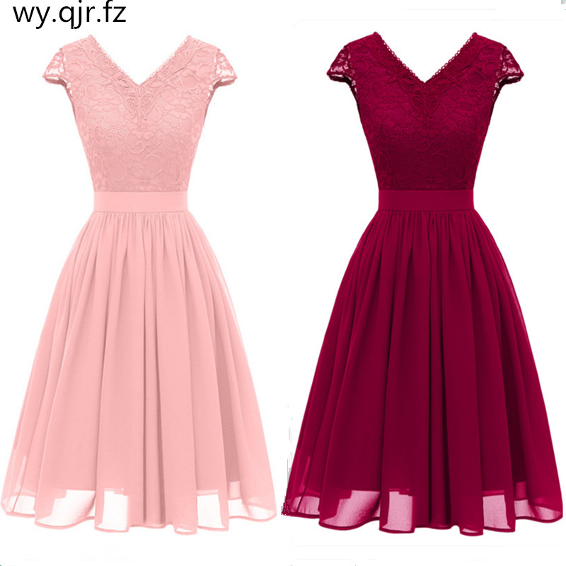 CD1646#Chiffon V-Neck Lace Pink Wine Red Dark Blue Bridesmaid Dresses Short Wedding Party Prom Dress Girl Marry Wholesale Women