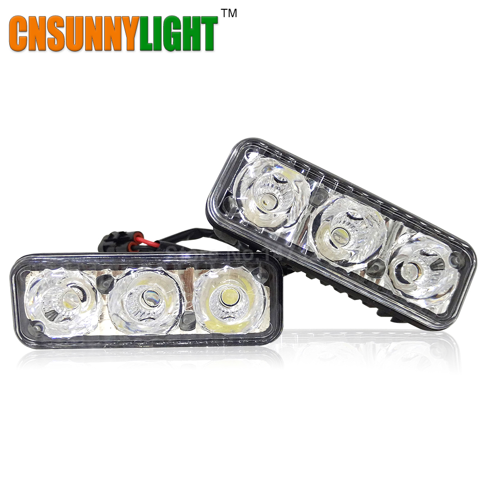 LED DRL Waterproof Car High Power Aluminum LED Daytime Running Lights DC 12V Xenon White 6000K Super Bright 1 Set Driving Lights