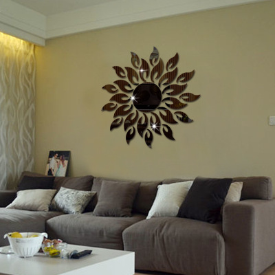 sunflower 3d acrylic stereo mirror stickers bedroom sofa tv background