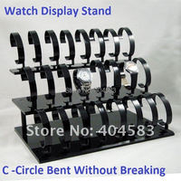 Black Acrylic Shop fixtures Organizer Countertop Showcases Shelf Holder 24-grid Watch Rack Watches Display Stand