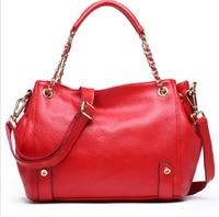 Women Tote Bag Real Leather 2019 Hand Casual Vintage Fashion Red Solid Business Travel Messenger Shoulder Crossbody Handbag Bags