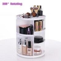 Fashion 360 degree Rotating Makeup Organizer Box Brush Holder Jewelry Organizer Case Jewelry Makeup Cosmetic Storage Box