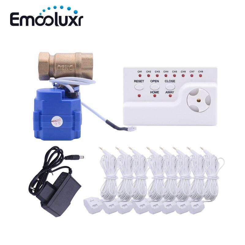 Électronique Détecteur de Fuite D'eau avec arrêt Automatique 3/4 vanne à boisseau Sphérique (DN20 * 1 pc) et 8 pcs 6 mètres D'eau Capteur Câble
