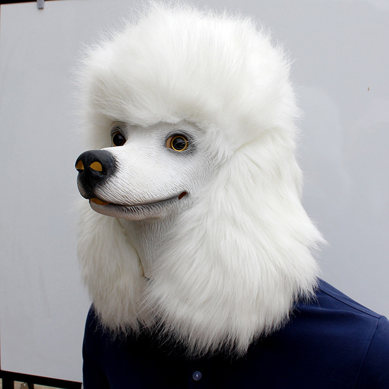 Image 3 - Christmas White Poodle Dog head Party Mask Latex With Further Animal Cosplay Fancy Dress Masks Adult Funny Costume PropsParty Masks   -