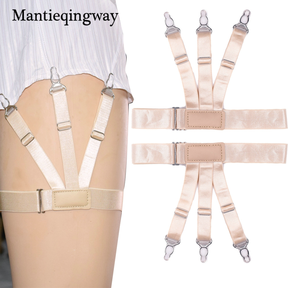Mantieqingway Women Shirt Stays Garters Suspenders Braces For Mens Shirts Gentleman Leg Suspensorio Elastic Strap Belts