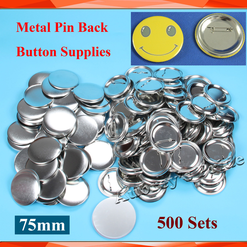 3 75mm 500 Sets NEW Professional All Steel Badge Button Maker Pin Back Metal Pinback Button