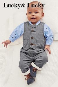Image 5 - Gentleman baby boy kleding lange mouw + vest + casual broek voor bruiloft en partij pasgeboren baby kleding