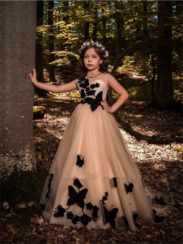 Champagne   Flower     Girl     Dress   with Black 3D Appliques Illusion Neck Buttons Back Pageant Gown Newest Princess   Dresses   Custom Made
