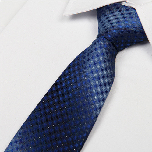 SHENNAIWEI 8cm slim Polyester halsband Nya 2017 manar Gradient blå färg slipsar fashipn Jacquard gravatas