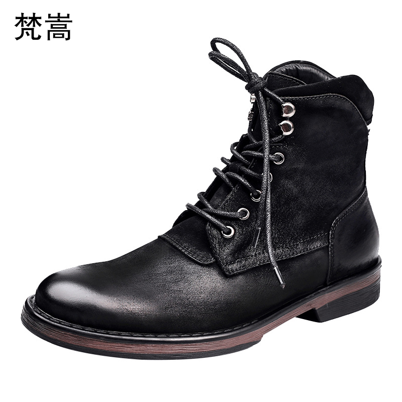 mens casual real leather boots cowhide autumn winter desert men breathable chelsea male Leisure man