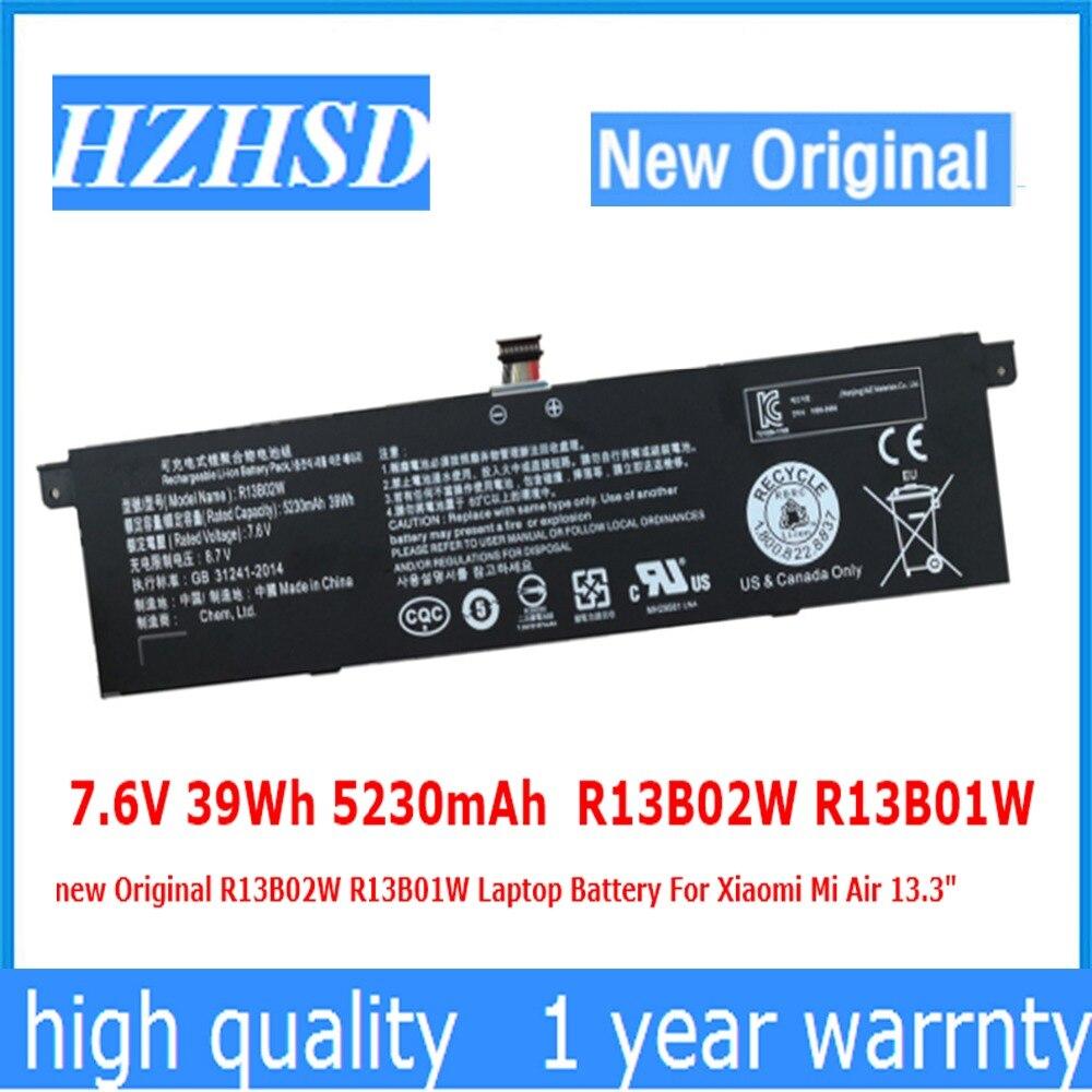 7.6V 39Wh 5230mAh R13B02W R13B01W New Original R13B02W R13B01W Laptop Battery For Xiaomi Mi Air 13.3