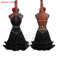 Luxury Diamond Latin Dance Dress Women Dancing Performance Competition Clothes Sexy Off Shoulder Fishbone Coiling Dress