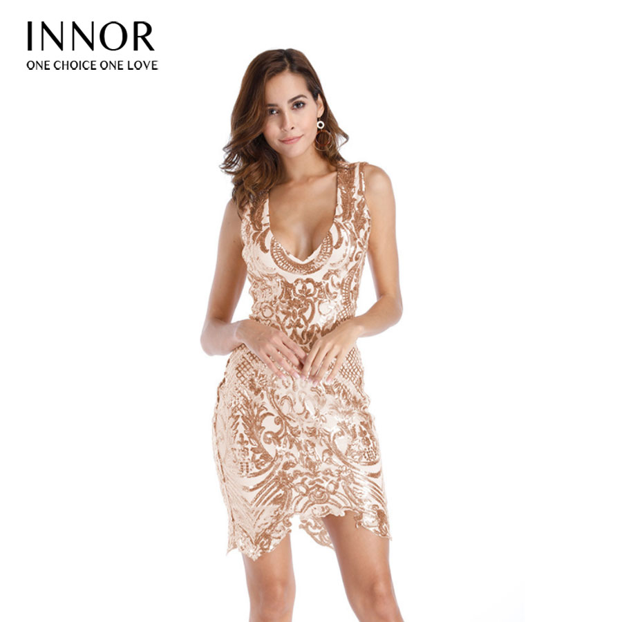 Fashion Sexy Women Vintage Gold Sequins Dress 2018 New V