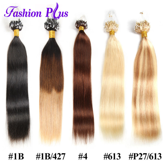 Fashionplus Micro Loop Ring Hair Extension Blonde Remy Hair Colored