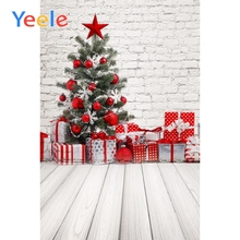 Yeele Brick Wall Christmas Tree Wooden Boards Gift Baby Children Portrait Background Vinyl Photography Backdrop For Photo Studio
