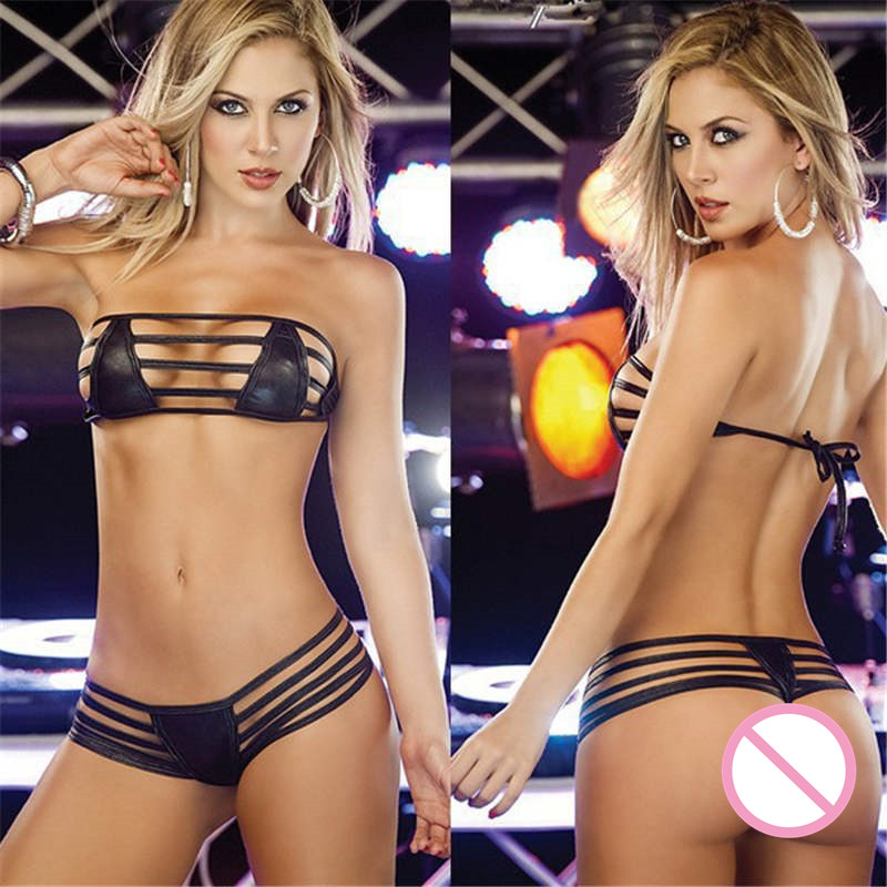 Sexy Leather Lingerie Women hot Erotic Underwear Dress PU leather Clubwear porn Apparel <font><b>Sex</b></font> Bondage Costumes <font><b>Bikini</b></font> Bra&G string image