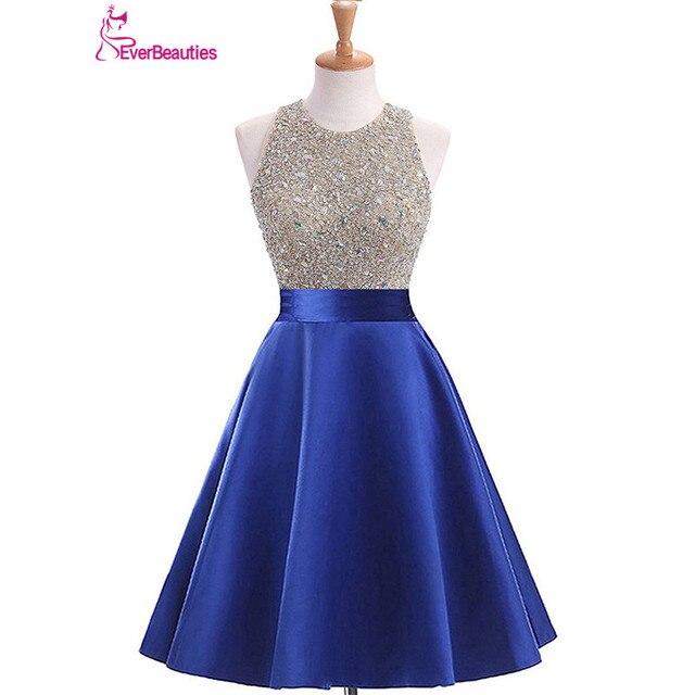 8e53a7d65b Corto Vestidos De baile 2019 Top De satén con cuentas Halter Abiye Vestidos  De Graduacion De