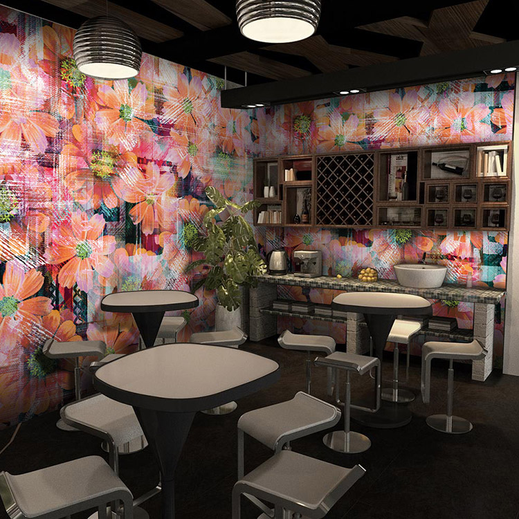 European trend custom 3D wallpaper flower green paper Restaurant Lounge Restaurant bedroom sofa 3D wallpaper murals