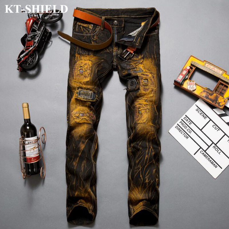 Luxury Mens Jeans Ripped Hole Fashion Denim Pants For Man Vintage Trousers Hip hop Casual Cotton