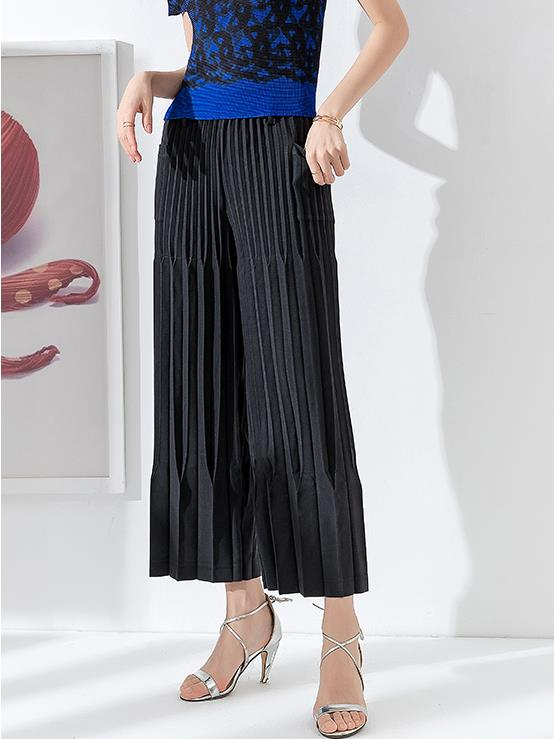 Pleated art   wide     leg     pants   female nine points loose new Miyake niche design hairy casual   pants   free shipping PY
