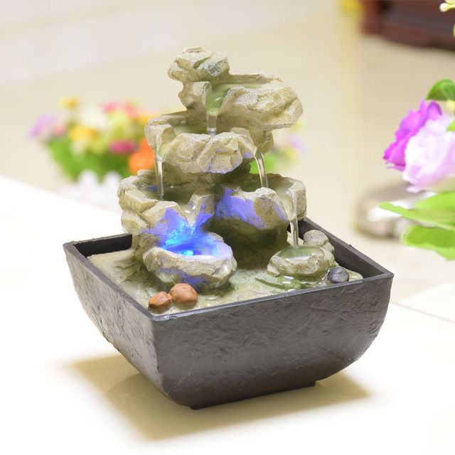 Indoor Decor Desk Mini Water Basket Fountain