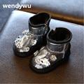 2107 invierno Caliente niños marca glitter botas niño botas negras botas para niñas princesa de la manera niños botas de nieve caliente