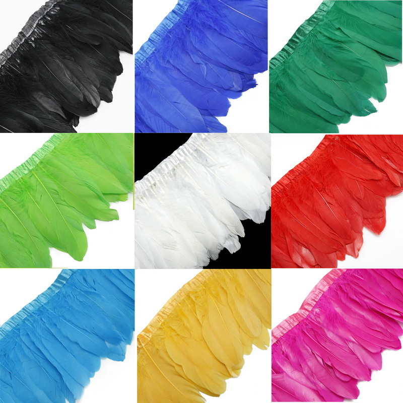 Arts,crafts & Sewing Home & Garden Impartial Multi Color Goose Feather Trims 2 Meters/lot Dyed Geese Feather Ribbons /15-20cm Goose Feather Fringes High Quality Lovely Luster