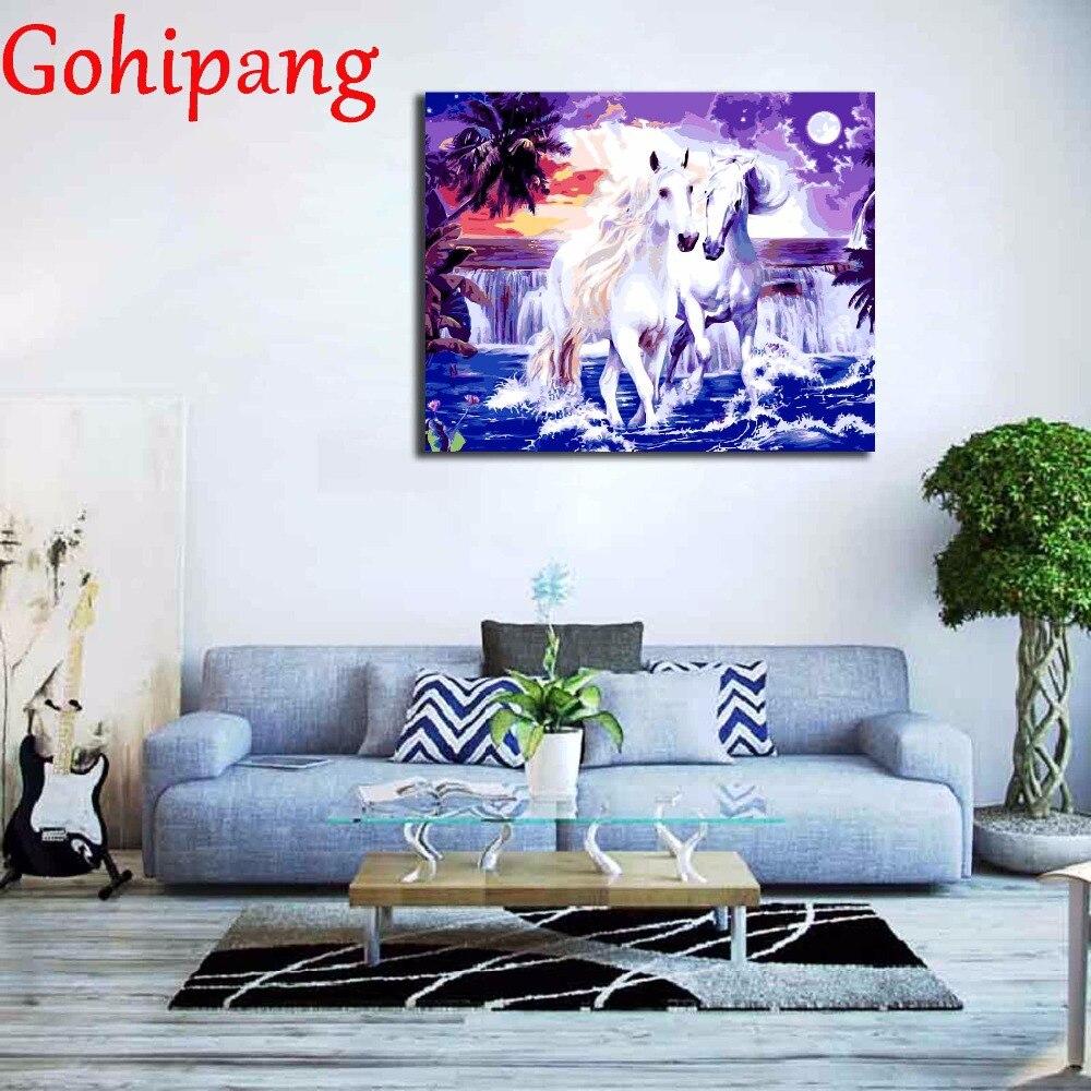 line Shop Dua Kuda Putih Bingkai Kanvas DIY Digital Minyak Lukisan Dengan Angka Mewarnai Gambar Ruang Lukisan Minyak Dinding Seni 40x50 cm