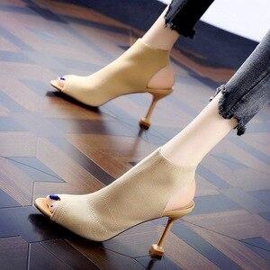 Image 5 - SMTZZJ New 2019 Fashion Brand Design Red Black Knit Summer Sandals Women Pumps High heels Open Peep Toe Ladies Hollow Shoes