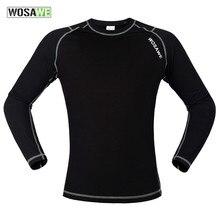 WOSAWE Men motocross combination protective jerseys Running Fitness motorcycle Baselayer Underwear Long Sleeve Fleece base layer