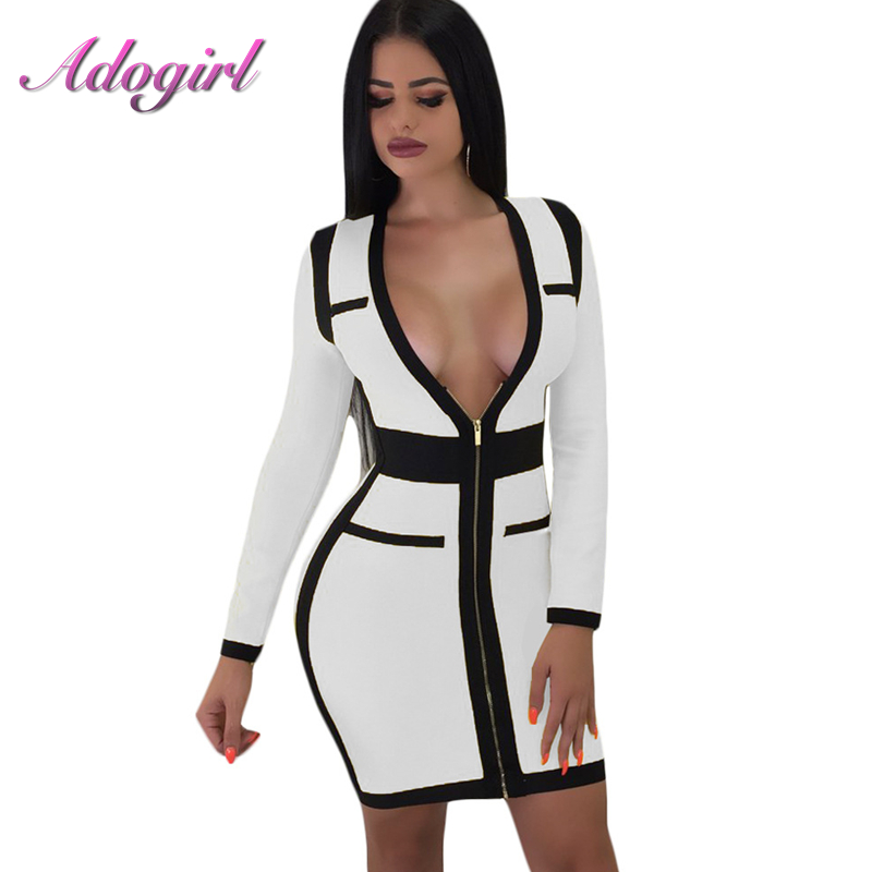 Sexy Zipper V-Neck Bandage Mini Dress Women Autumn casual Long Sleeve High Waist Evening Party Club Dresses Office Lady Vestidos