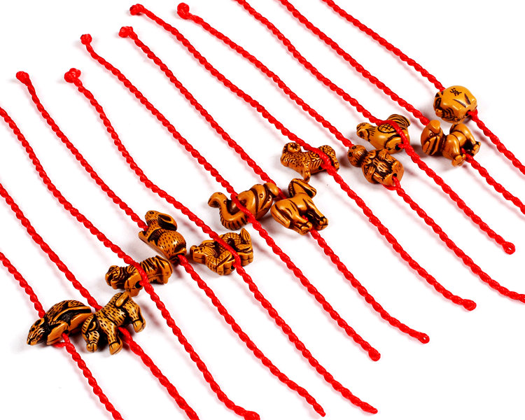 iMixBox Red Rope Animal <font><b>Bracelet</b></font> twelve Chinese zodiac signs Fish <font><b>Dog</b></font> Horse Cock Sheep Ox Snake Mouse Tiger Monkey Fish Rabbit image