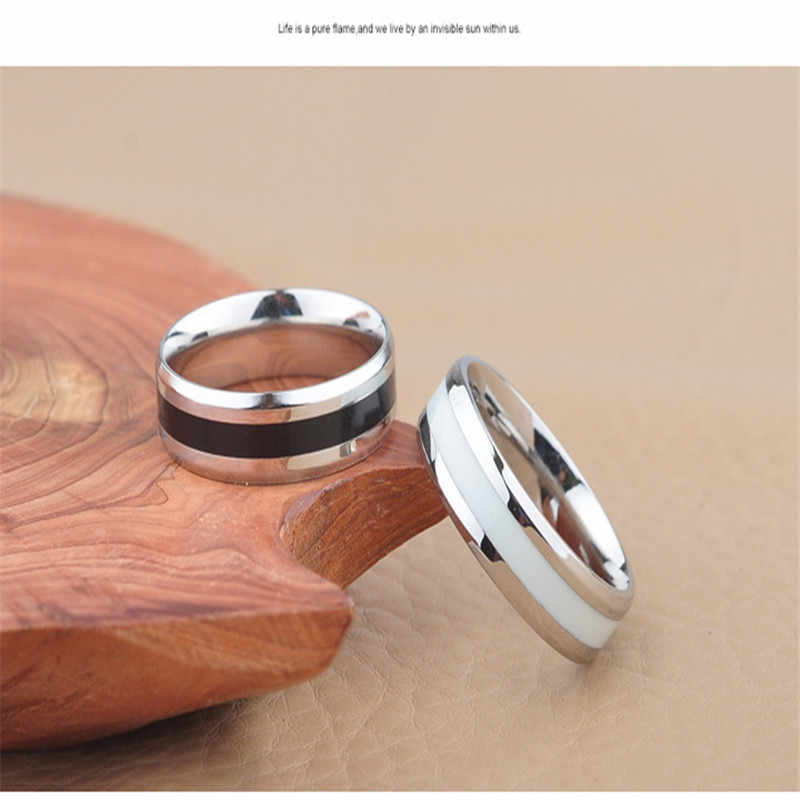 Stainless Steel Ring  For Men Silver And Black Ring For Women Tungsten Rings Silver Wedding Accessories Rings For Couple Gifts