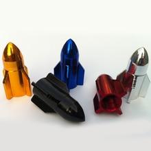 4Pcs/Set Aluminum Alloy Cool Rocket Shaped Design Car Auto Motorcycle Bike Tire Tyre Valve Dust Caps Wheel Stem