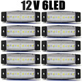 10 Pcs branco 6LED Bus Van reboque do caminhão 6 LED lado marcador indicadores luzes lâmpada 12 V 24 V