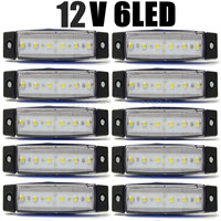 10Pcs White 6LED Bus Van Truck Trailer Side Marker Indicators Lights Lamp 12V 24V